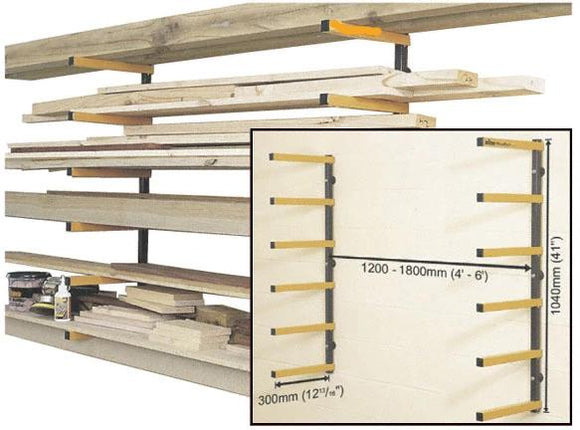 Wood Rack, 6 Level Storage, Steel, Wall Mount