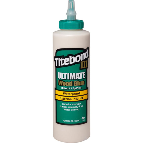 Titebond III Wood Glue, Ultimate, Waterproof, 16oz (475ml)