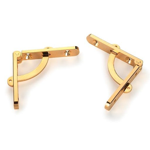Highpoint Side Rail Hinges, c/w 95º Stay, Solid Brass, Gold Tinted, Pair