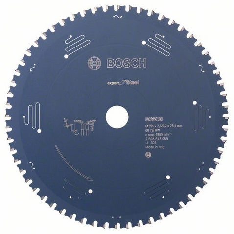 Bosch Saw Blade, Expert for Steel, Ø-305, 80 Tooth, for Mitre Dry Cutter