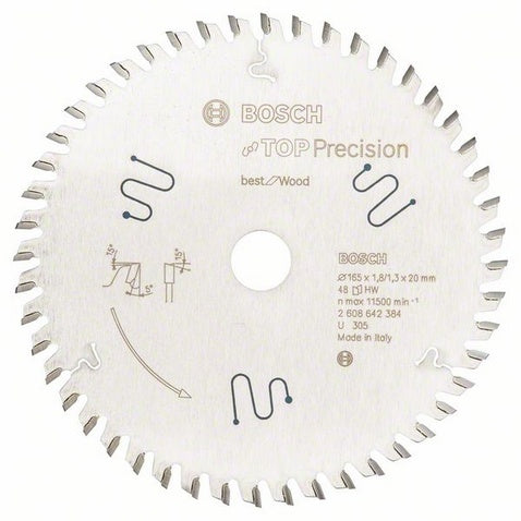 Bosch Saw Blade, Top Precision, Multi-Material, Ø-165mm, 48 Tooth
