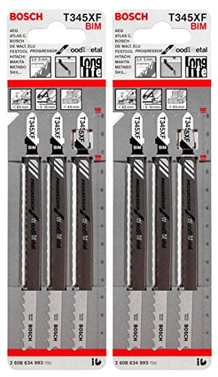Bosch Jigsaw Blades T345XF for Wood & Metal 3Pk