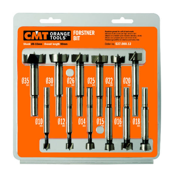 CMT Orange Forstner Drill Bits, 12 Piece Set, Metric