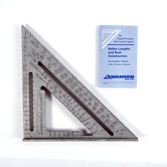 Swanson Aluminium Speed Square, Metric, 250mm c/w Blue Book