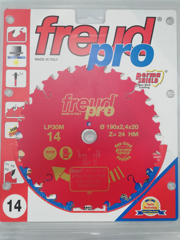 Freud Sawblade, Professional, Ø- 190mm, 24 Tooth, LP30M014P