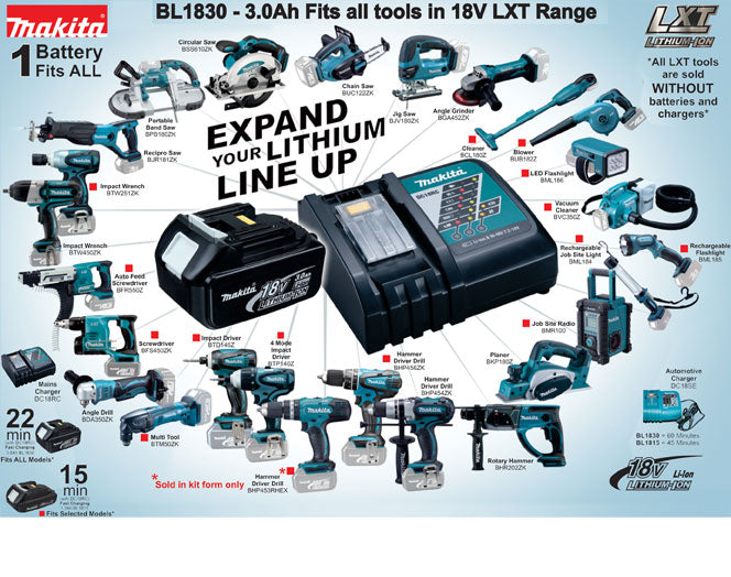 Makita BL1830B Battery, 18V, Li-Ion, 3Ah**Unboxed**