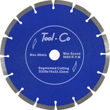 Toolco Diamond Blade Segmented 230 x 10 x 22.23mm Standard Blue