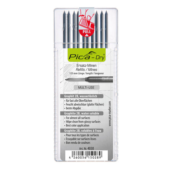 Pica Dry Refill Set, 2B Graphite, Multi-Use, Water Soluble, 10 Pack, 4030