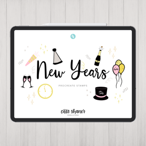 New Years Procreate Stamps
