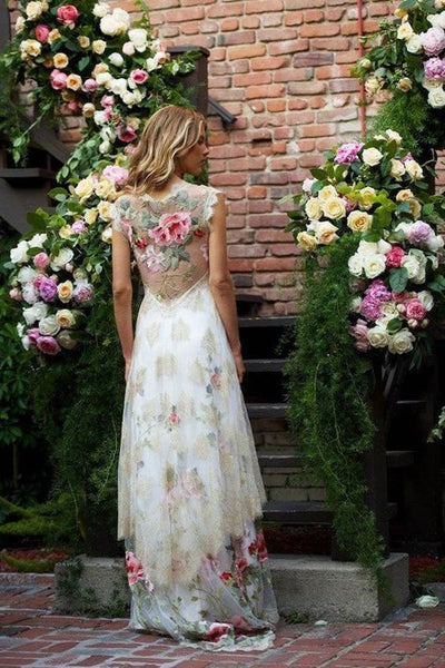 wedding shoes and floral dresses