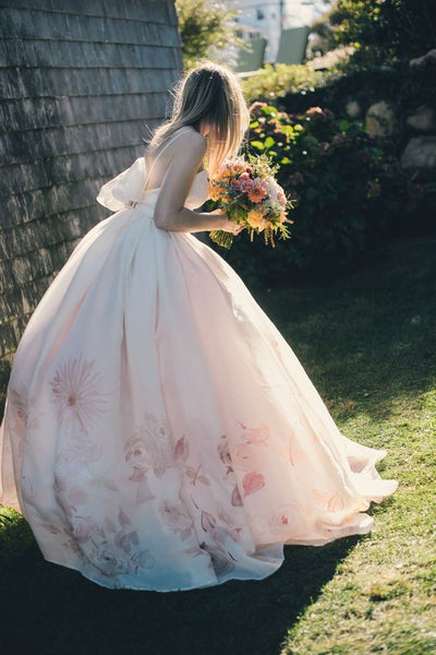wedding shoes and floral wedding dresses