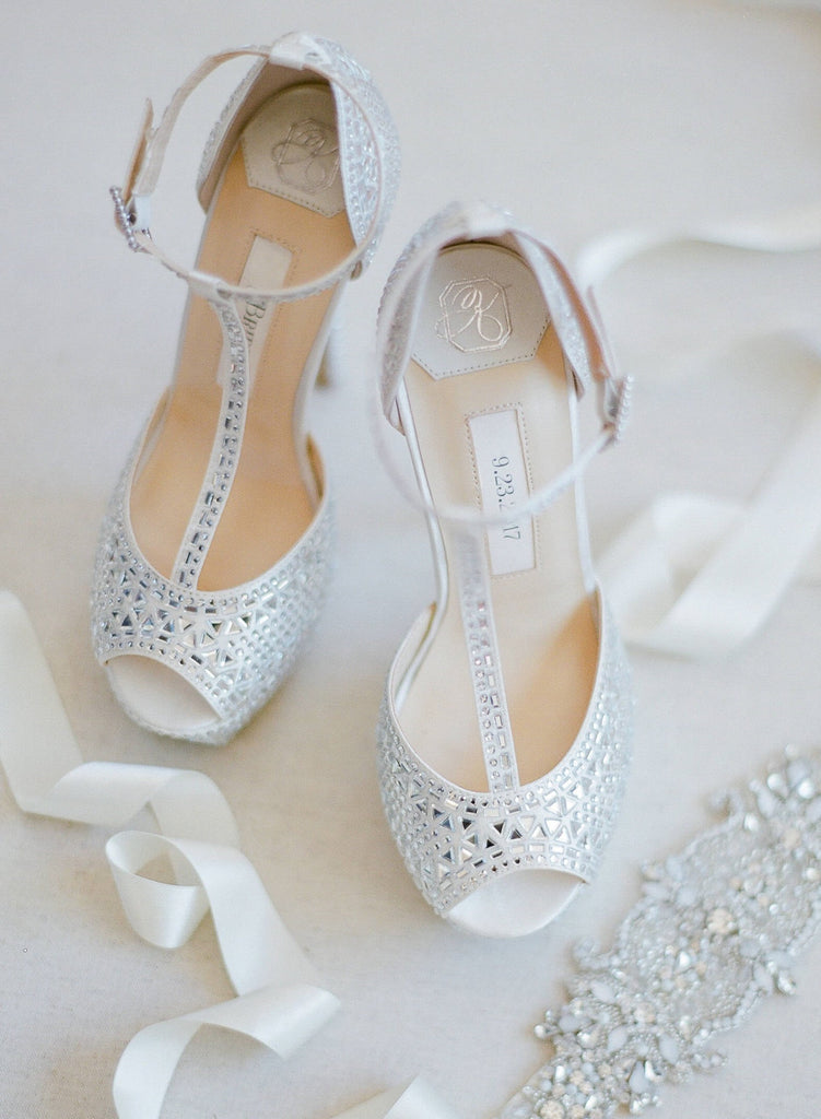 wedding shoes, bridal heels, bride flat, satin, peeptoe, bianca, ivory, styled