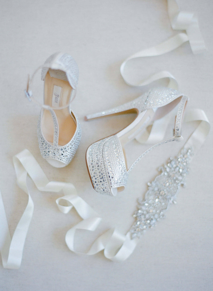 "Wedding Shoes - ""Bianca"" Sandals in Ivory satin with Rhinestones"