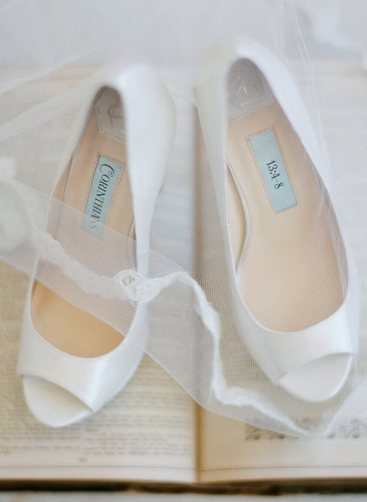 bridal shoes, wedding heels, bride flat, satin, peep toe, aria, ivory, styled 2