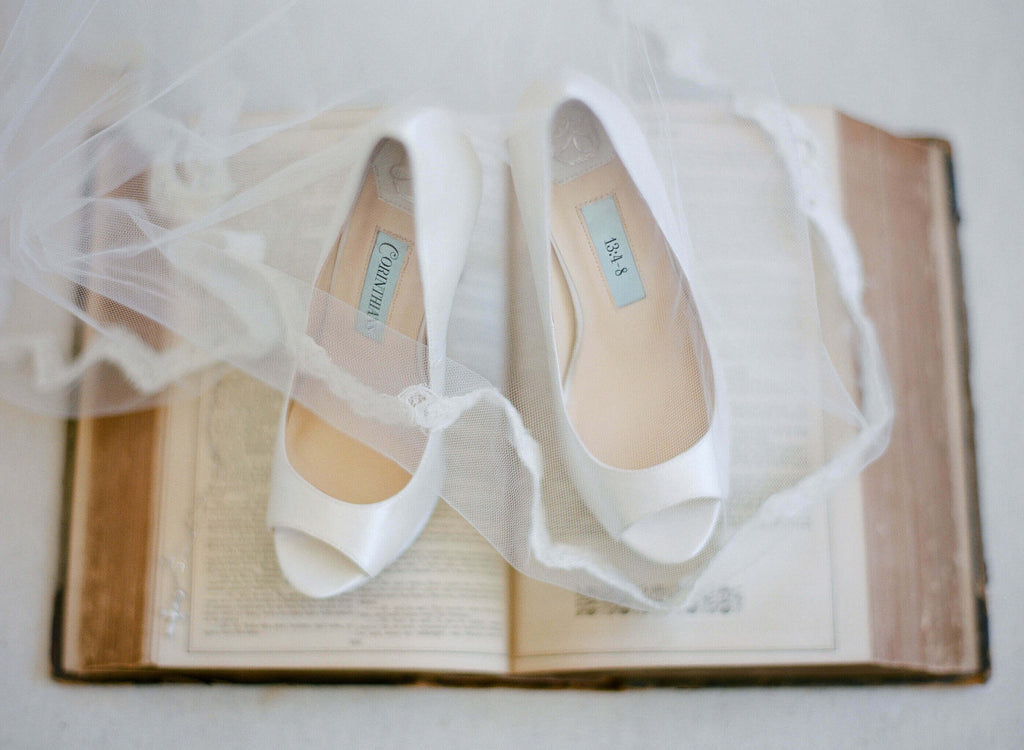 bridal shoes, wedding heels, bride flat, satin, peep toe, aria, ivory, styled