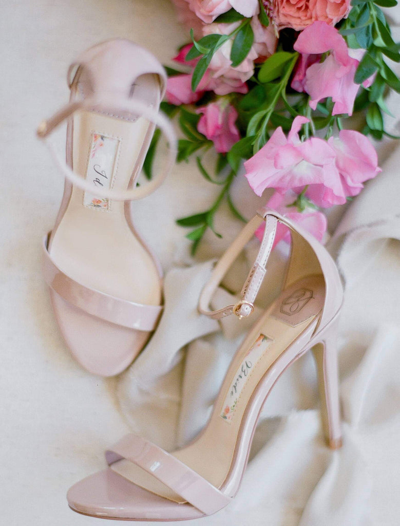 Wedding Shoes Ankle Strap High Heel - Samantha Champagne - Kate Whitcomb Shoes