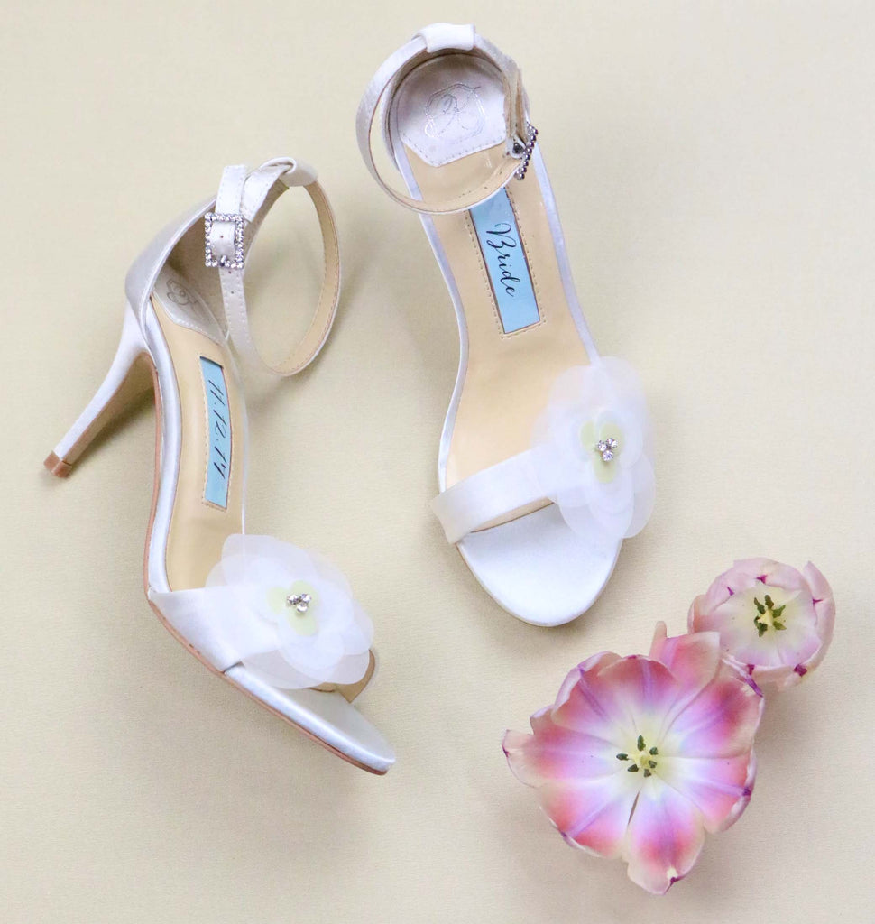 Bridal Shoes Satin High Heel Tulle Rhinestone Floral Detail - Rose Ivory - Kate Whitcomb Shoes