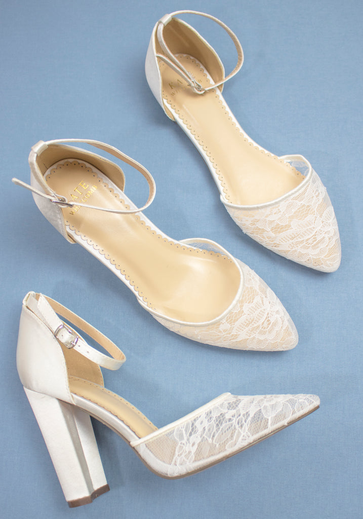 White Wedding Shoes Lace High Heel - Hailey Ivory - Kate Whitcomb Shoes
