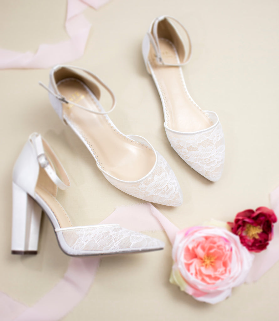 Wedding Heels Lace Bridal Shoes - Hailey Ivory - Kate Whitcomb Shoes