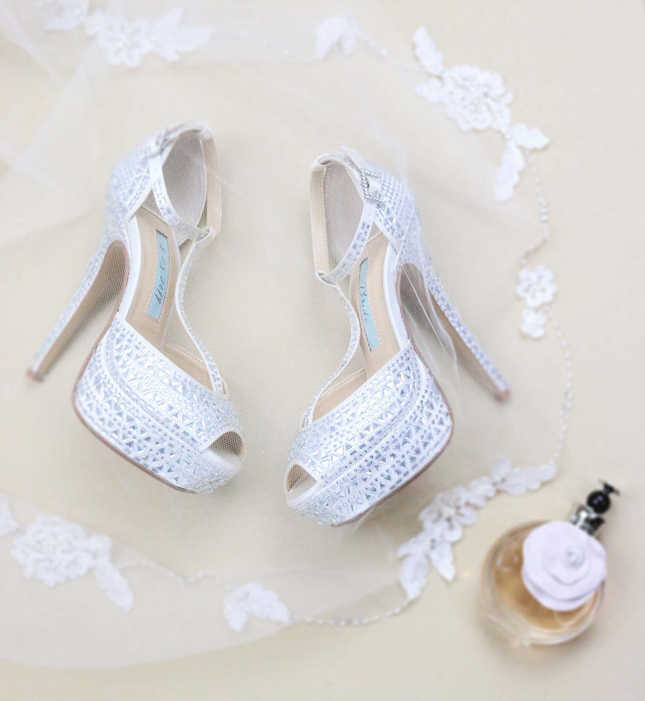 wedding shoes, bridal heels, bride flat, satin, peeptoe, bianca, ivory, styled 2