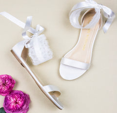 bride shoes, bridal heels, Wedding flat, lace, flats, bliss, ivory, styled