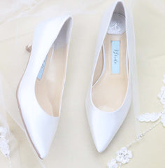 wedding shoes, bridal heels, bride flat, satin, pumps, eden, ivory, styled