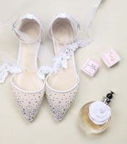 Ivory Wedding Shoes Rhinestone Ballet Flat - Elle Ivory - Kate Whitcomb Shoes