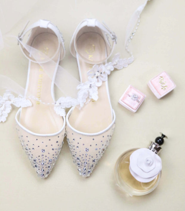 Comfortable Wedding Shoes Rhinestone Ballet Flat - Elle Ivory - Kate Whitcomb Shoes