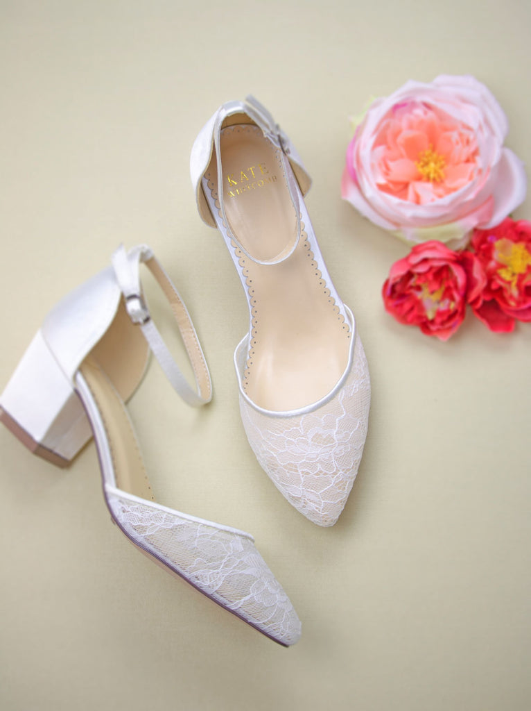 Lace Wedding Shoes Lace Low Block Heel - Elsa Ivory - Kate Whitcomb Shoes