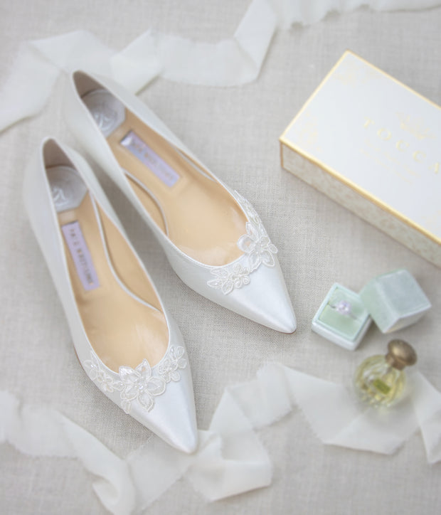 Wedding Shoes Lace Low Heel Pump - Emily Ivory - Kate Whitcomb Shoes