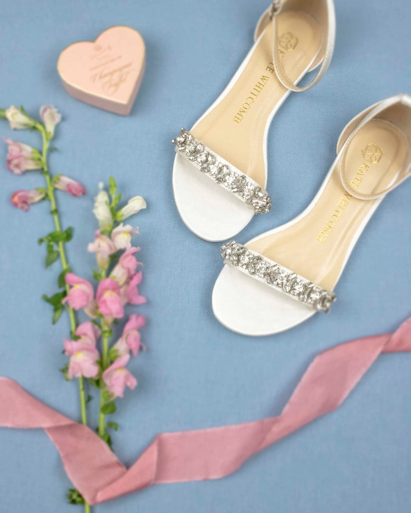 wedding shoes, bridal heels, bride, rhinestones, flats finn, ivory, styled 2