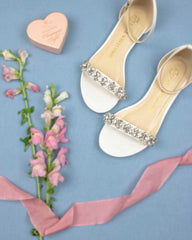wedding shoes, bridal heels, bride, rhinestones, flats finn, ivory, styled