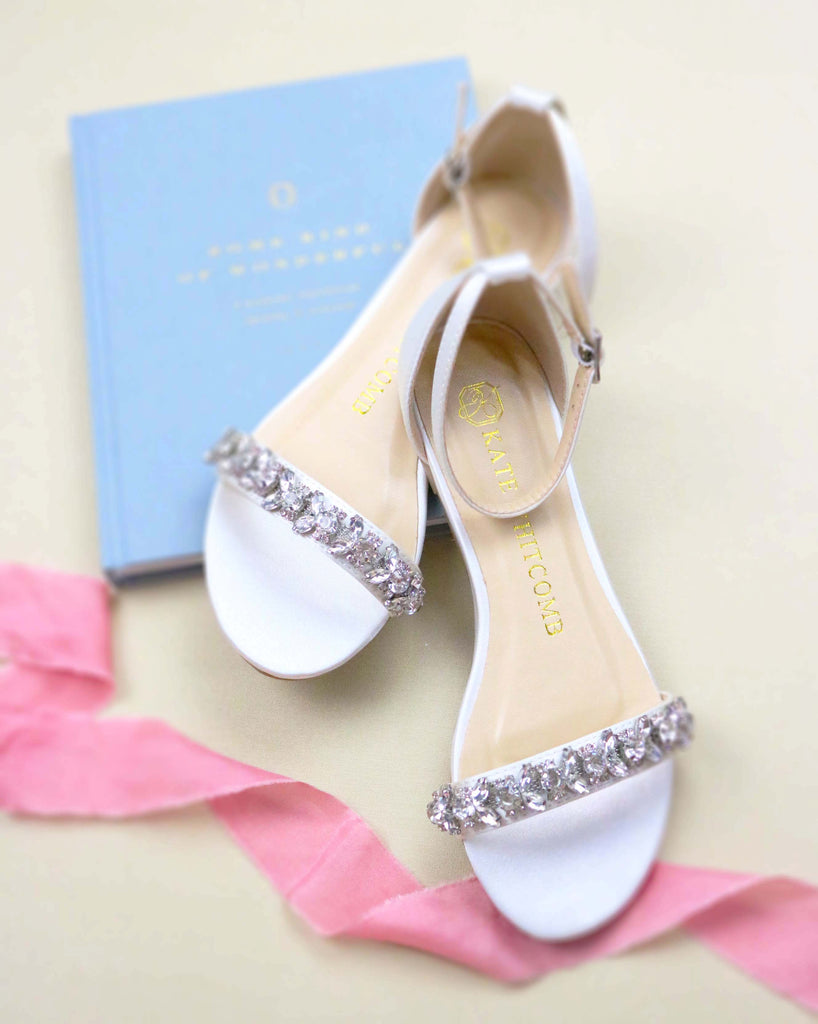 bride shoes, bridal heels, Wedding flat, rhinestones, finn, ivory, styled 1