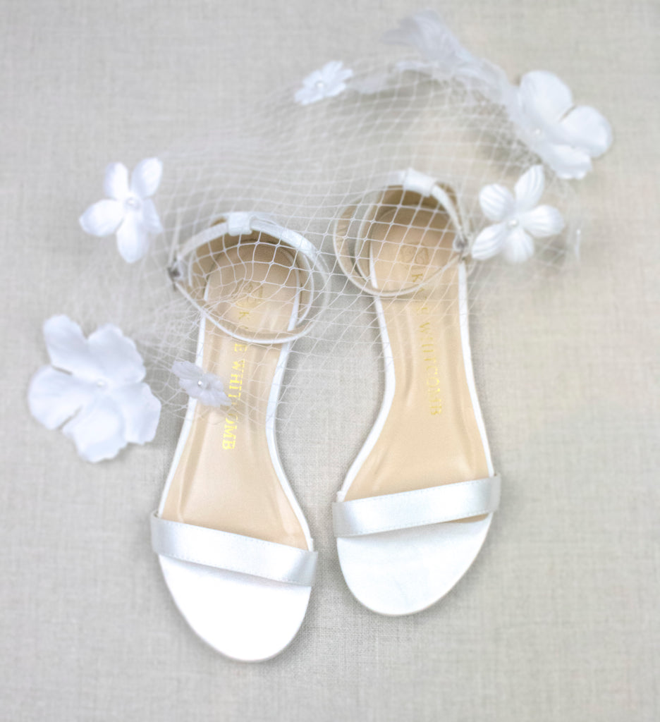 comfortable wedding shoes, bride flat, satin flats, flora, ivory, styled