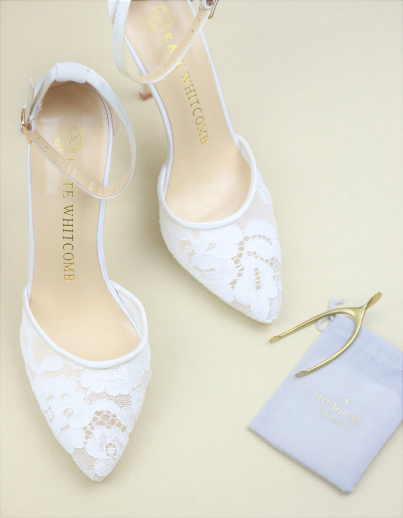 White Wedding Shoes Lace High Heel - Hazel Ivory - Kate Whitcomb Shoes