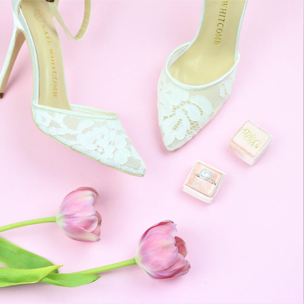 Ivory Wedding Shoes Lace High Heel - Hazel Ivory - Kate Whitcomb Shoes