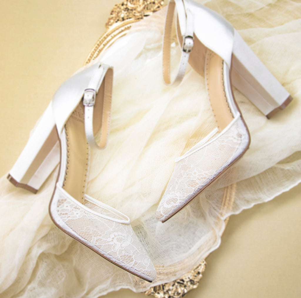 Ivory Wedding Shoes Lace High Heel - Hailey Ivory - Kate Whitcomb Shoes