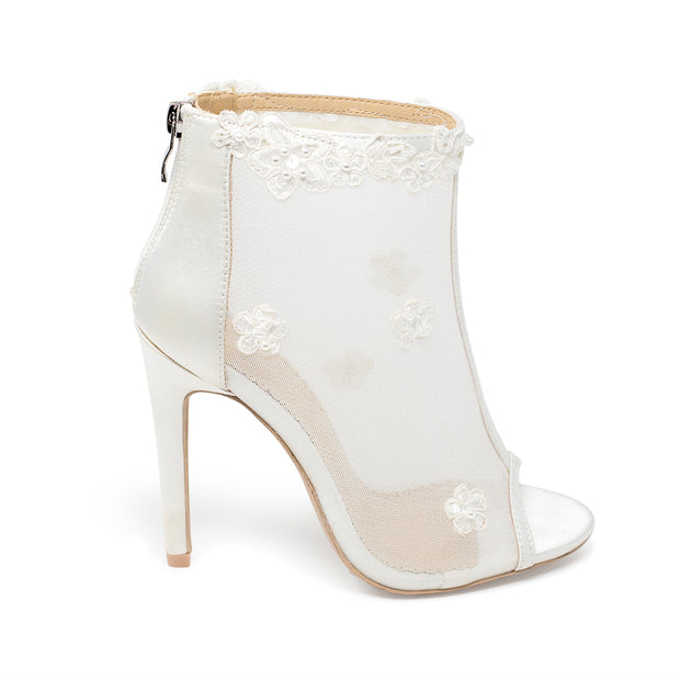 Bridal Shoes Lace Heel - Grace Ivory