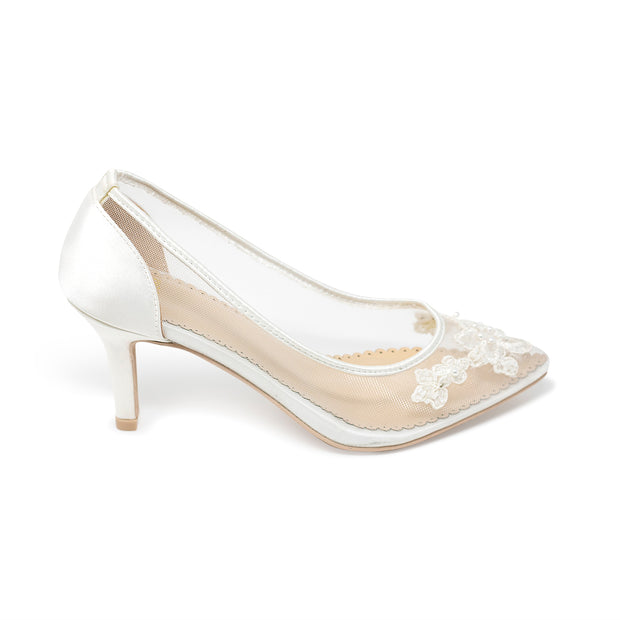 Bridal Shoes Lace Heel - Sofia Ivory