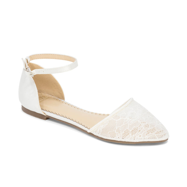 Bridal Shoes lace ballet flat - Emma Ivory - Kate Whitcomb Shoes