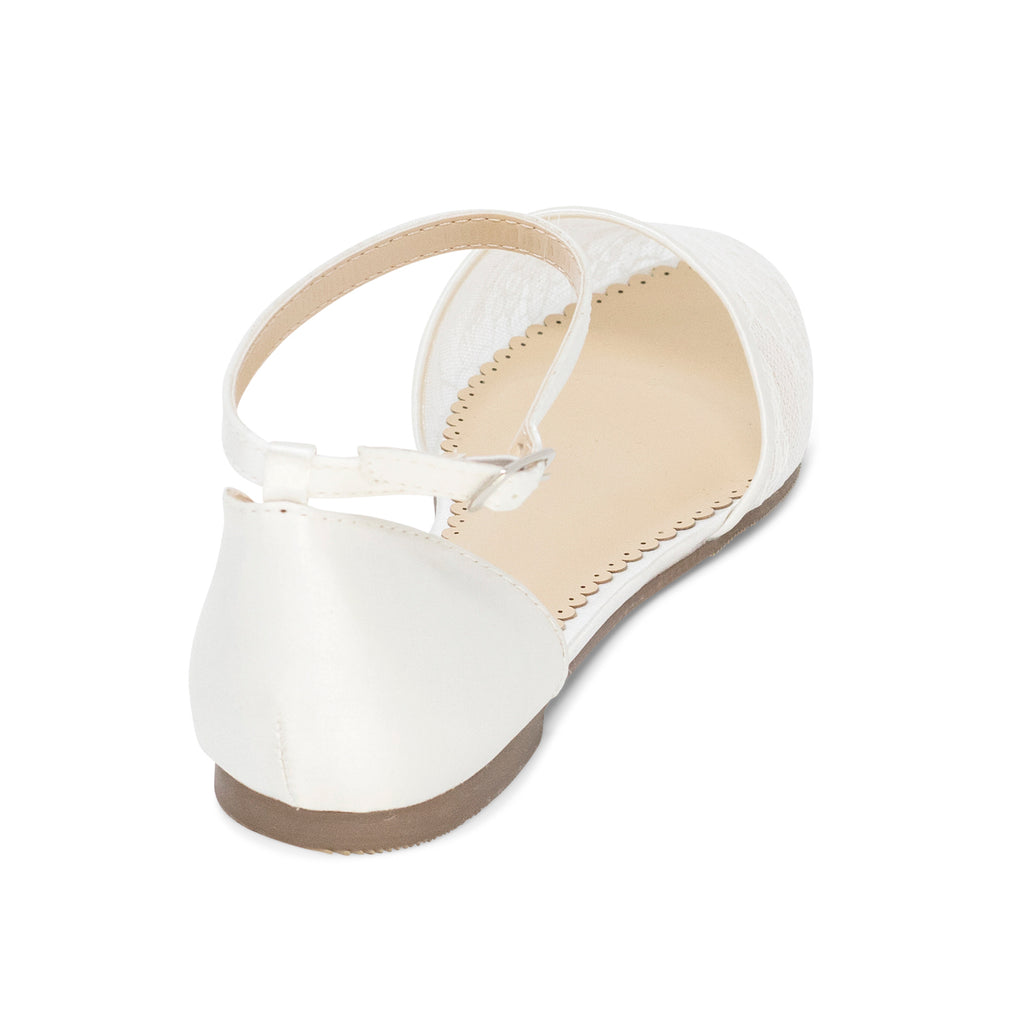 Comfortable Wedding Shoes lace ballet flat - Emma Ivory - Kate Whitcomb Shoes