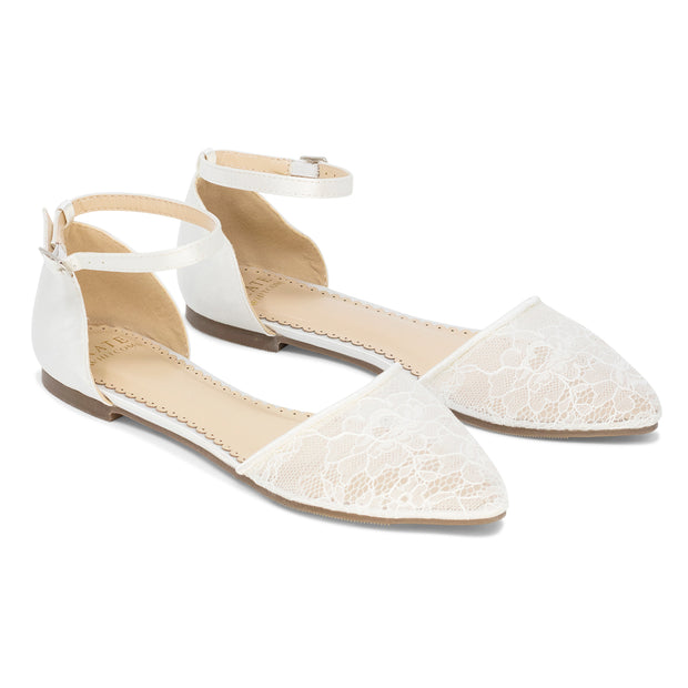 Bride Shoes lace ballet flat - Emma Ivory - Kate Whitcomb Shoes