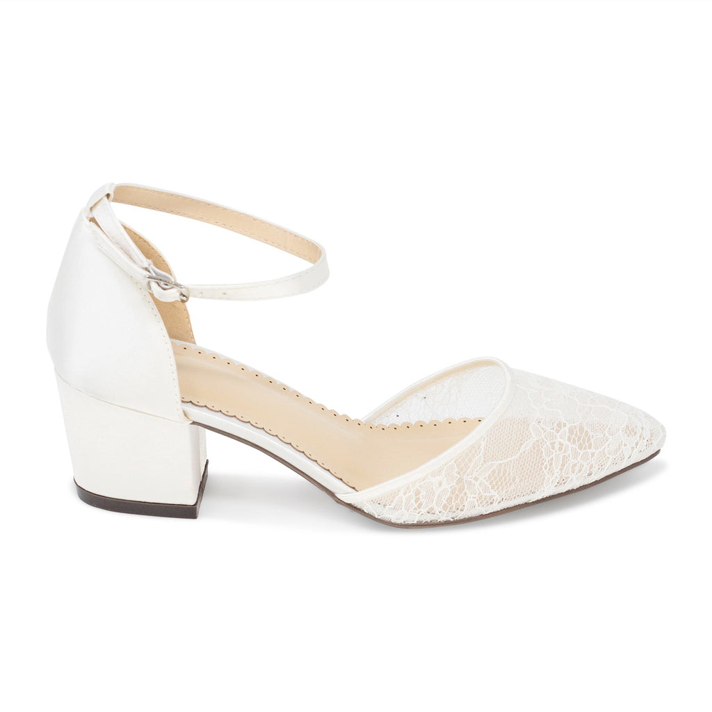 Ivory Wedding Shoes Lace Low Block Heel - Elsa Ivory - Kate Whitcomb Shoes