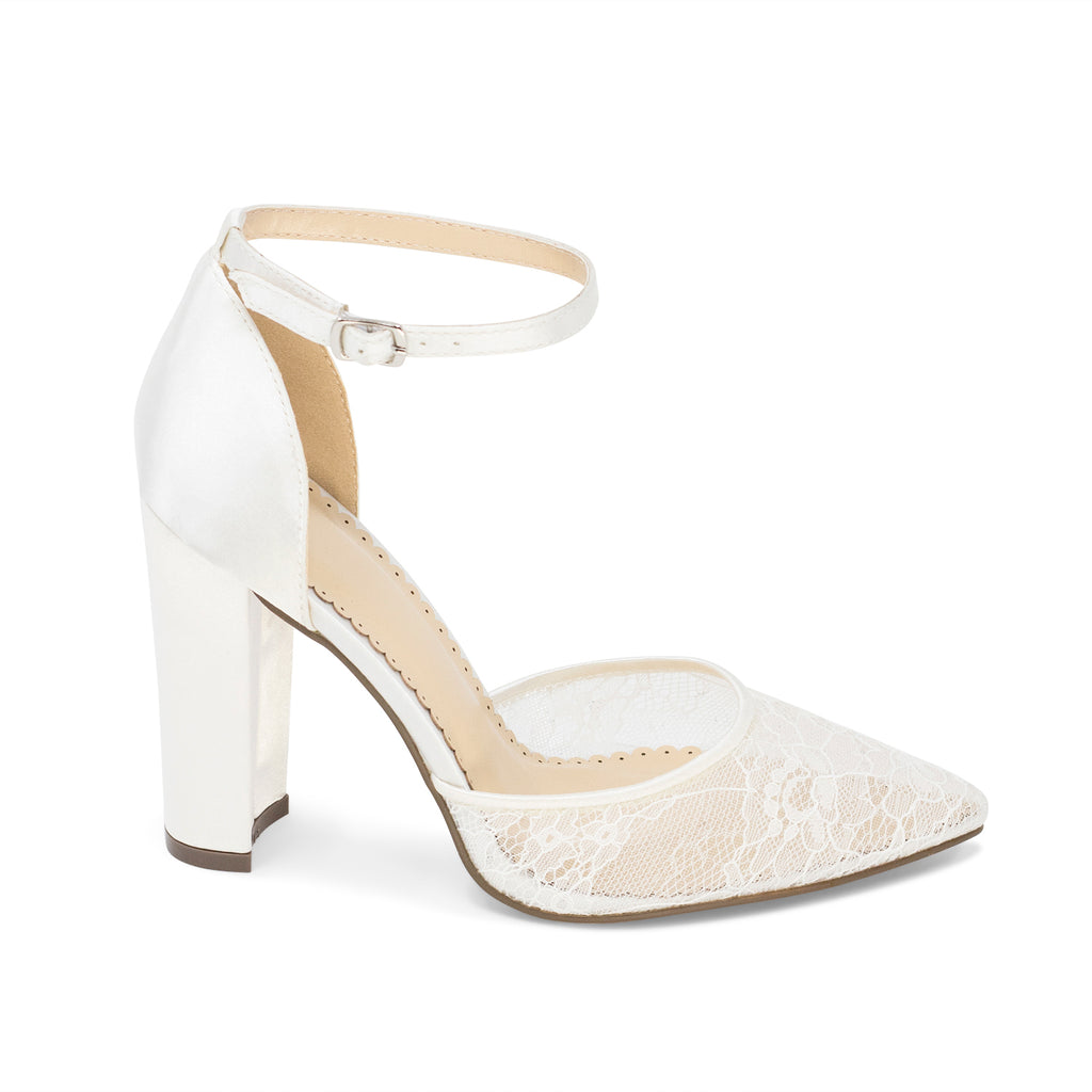 Bridal Shoes Lace High Heel - Hailey Ivory - Kate Whitcomb Shoes