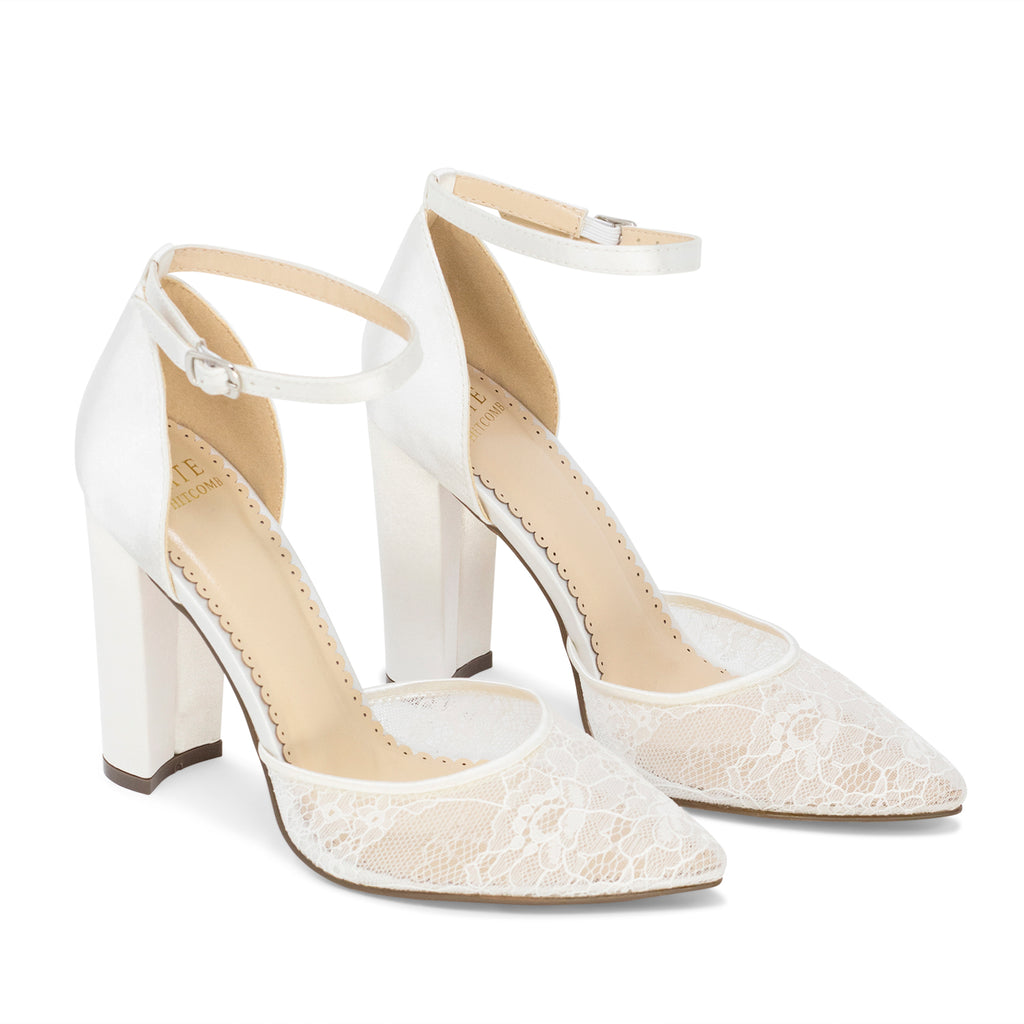 Wedding Heels Lace Bridal Shoes - Hailey Ivory