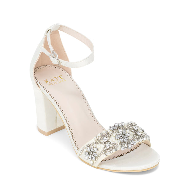 Bridal Shoes Block Heel - Lucy Ivory - Kate Whitcomb Shoes