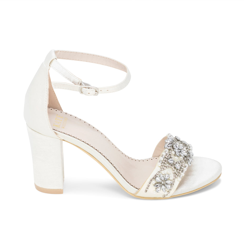 Bridal Shoes Block Heel - Lucy Ivory