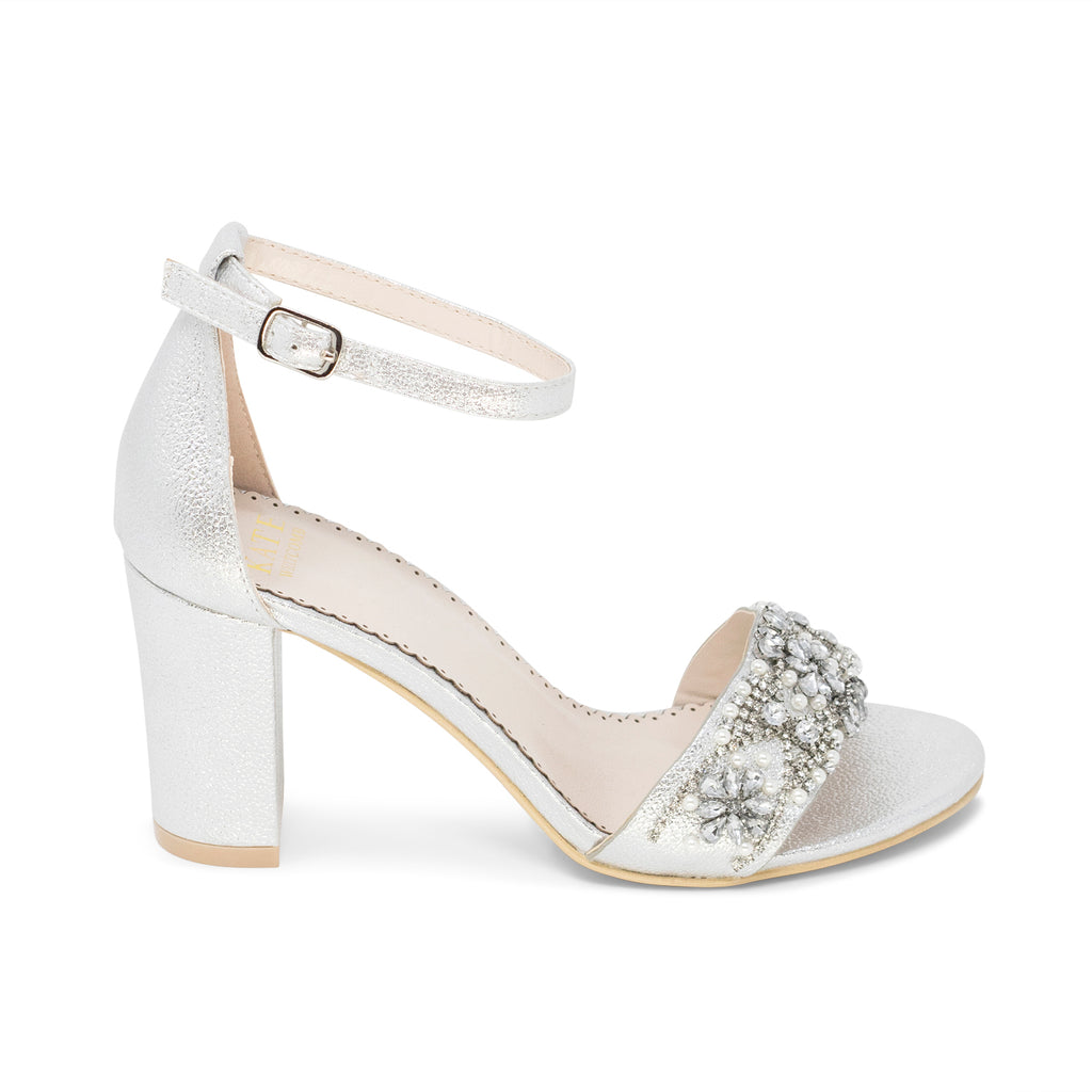 Bridal Shoes Block Heel - Lucy Silver - Kate Whitcomb Shoes