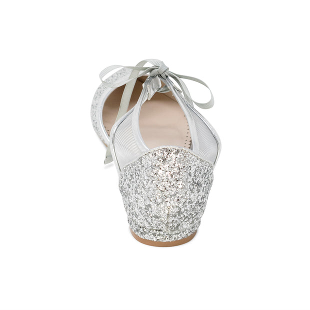 Olivia Silver -Bridal Shoes Glitter Ballet Flat - Kate Whitcomb Shoes