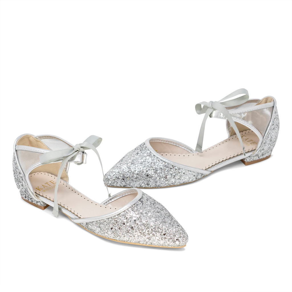 Olivia Silver -Wedding Shoes Glitter Ballet Flat - Kate Whitcomb Shoes